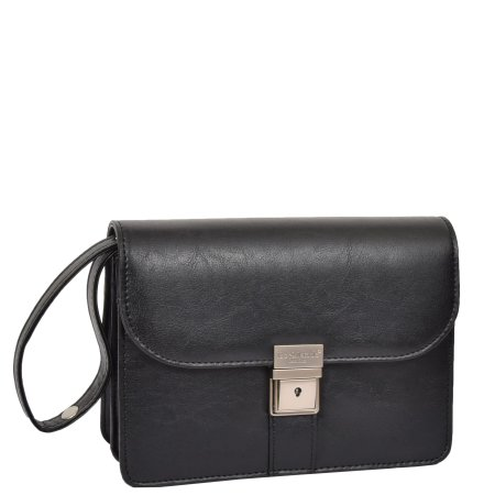 Lockable Leather Look Wrist Bag H10M Black