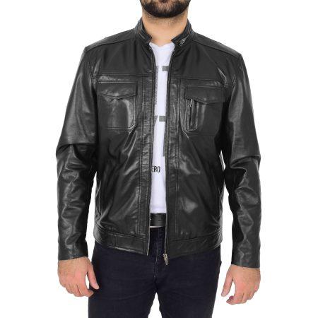 Mens Casual Biker Leather Jacket Jaime Black