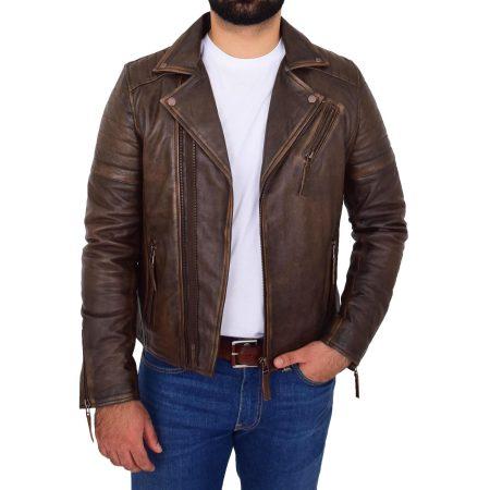 Mens Biker Leather Jacket Dual Zip Hook Brown Vintage