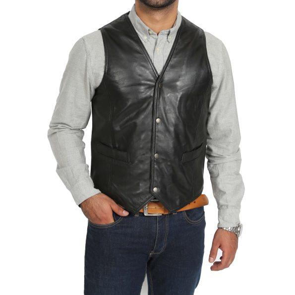 Mens Leather Traditional Waistcoat Petrelli Black
