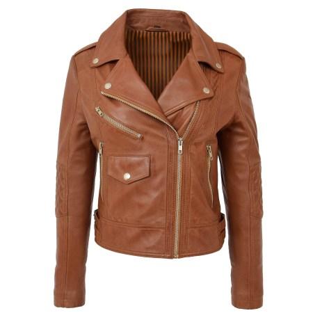 Women's Soft Leather Cross Zip Fashion Jacket