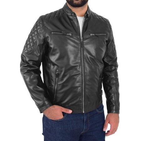 Men's Biker Quilt Style Leather Jacket
