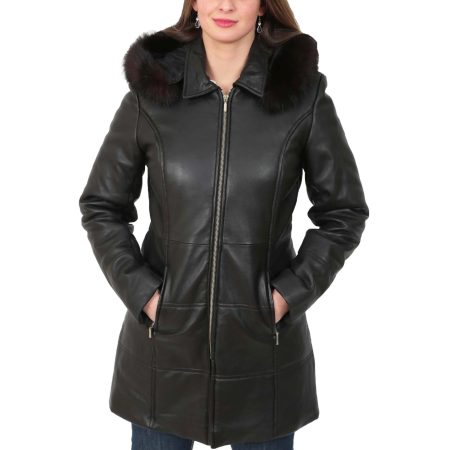 Women's 3/4 Length Padded Leather Coat