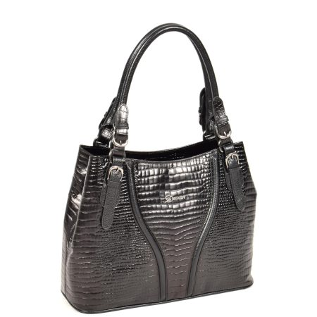 Womens Croc Print Leather Handbag H322 Black