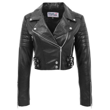 Womens Leather Cropped Biker Style Jacket Demi Black