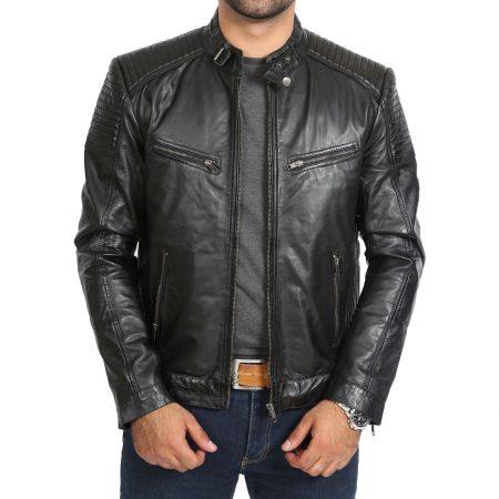 Mens Leather Cafe Racer Biker Jacket Ron Black