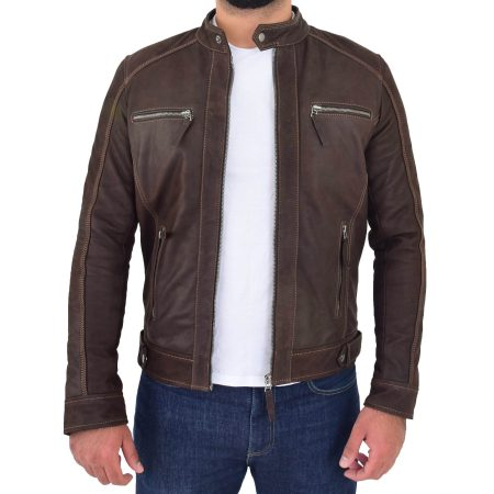 Mens Classic Leather Biker Style Zip Jacket Ethan Brown