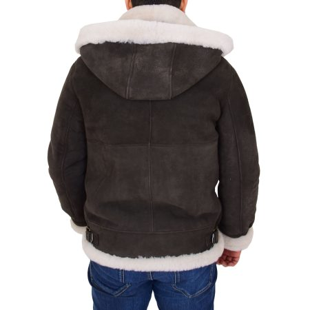 Men's B3 Sheepskin Jacket Detachable Hoodie Ruben Brown White