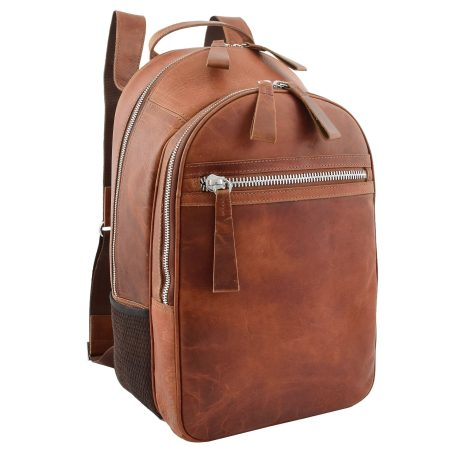 Large Classic Casual Leather Backpack Tan