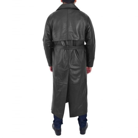 Full Length Men's Double Breasted Leather Coat