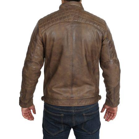 Mens Biker Leather Jacket Standing Collar Bowie Brown