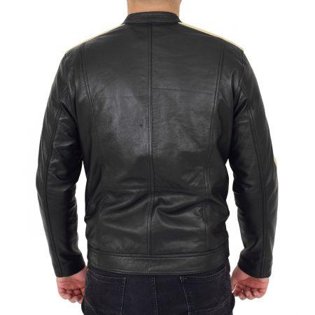Men's Leather Biker Jacket with Racing Stripes Clyde Black