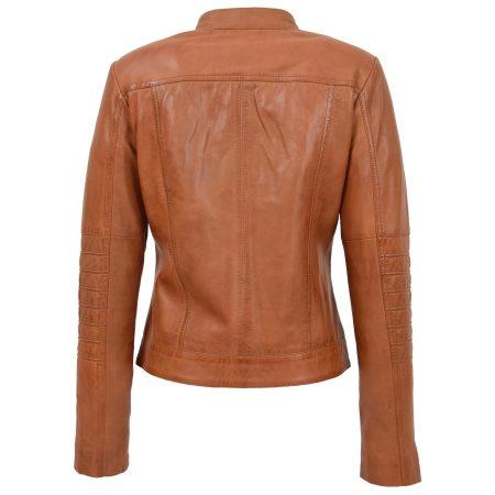Womens Leather Classic Biker Style Jacket Alice Tan