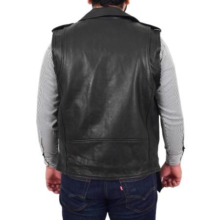 Men's Leather Black Cross Zip Biker Gilet