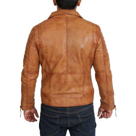 Mens Bikers Tan Dual Zip Jacket