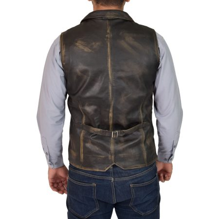 Mens Leather Buttoned Waistcoat Gilet Calvin Rub Off
