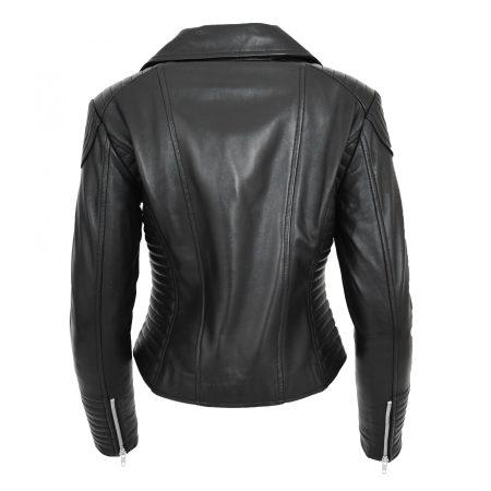 Womens Soft Leather Cross Zip Biker Jacket Anna Black