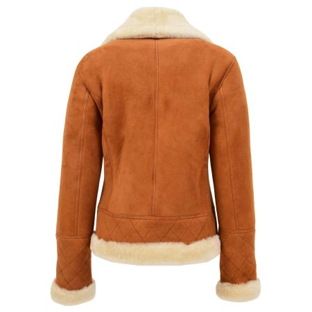 Women's Merino Sheepskin Aviator Jacket Tan