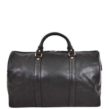 Leather Holdall Mid Size Barrel Shape Duffle Bag Orlando Black