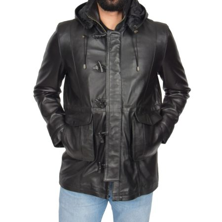 Men's Black Leather Duffle Coat with Hoodie