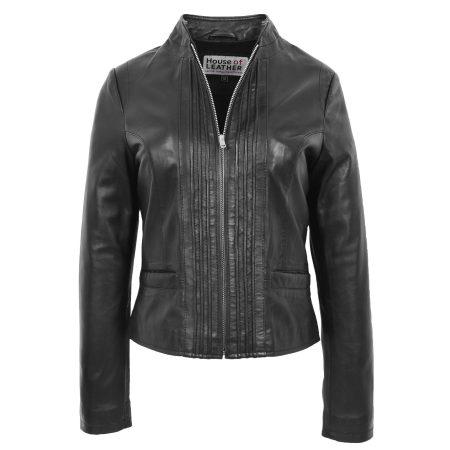 Women's Leather Standing Collar Jacket