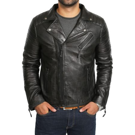 Mens Biker Black Leather Jacket Dual Zip