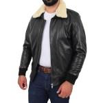 Men's Black Bomber Sheepskin Collar Jacket