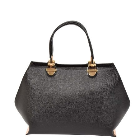 Women's Barrel Shape Black Handbag