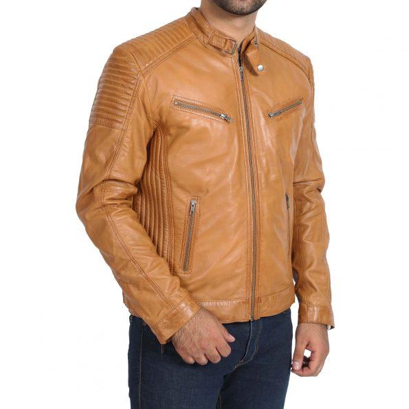Mens Leather Cafe Racer Biker Jacket Ron Tan
