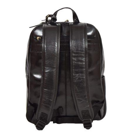 Leather Organiser Rucksack Black