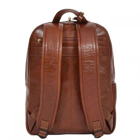 Leather Organiser Rucksack Peru Chestnut Tan