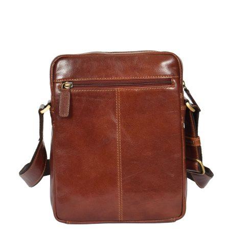 Men's Cross Body Tan Leather Tablet Bag