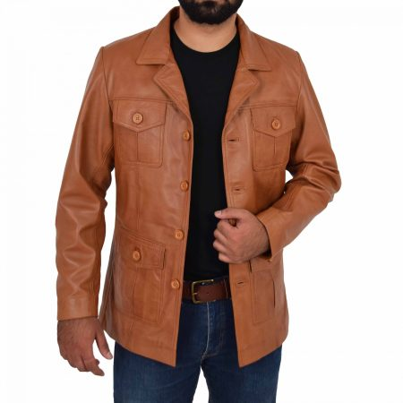 Mens Button Fastening Reefer Leather Jacket Jerry Tan