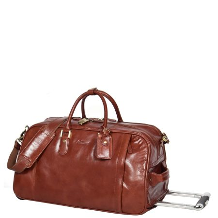 Leather Wheeled Holdall Mexico Cognac