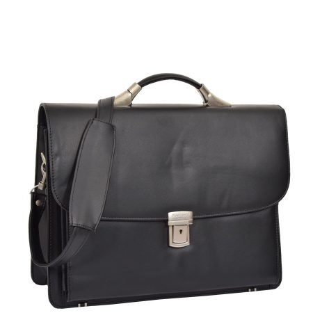 Leather Cross Body Briefcase H75 Black
