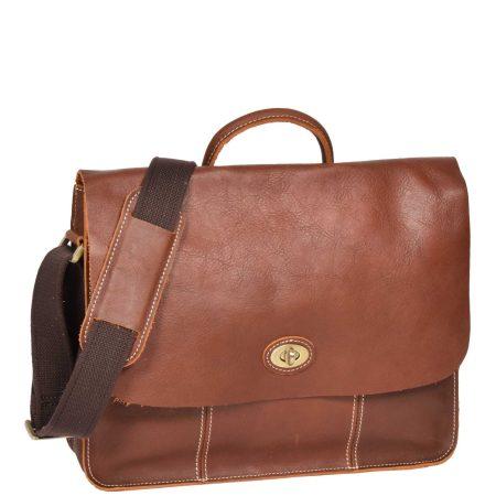 Women Leather Classic Satchel Style Bag H8109 Tan