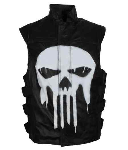 Punisher War Zone Frank Castle Tactical Skull Black Faux Leather Vest