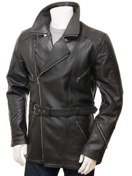 Mens Black Leather 3 4 Length Jacket - Asymmetrical Belted Winter Coat