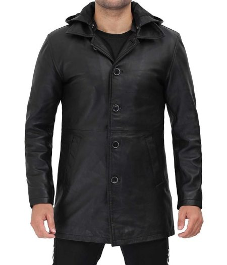 Devine Mens Black Leather Jacket 3 4 Length with Hood