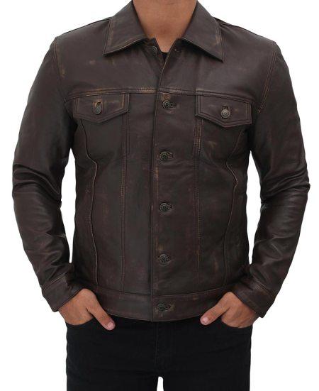 Dark Brown Trucker Leather Jacket Mens