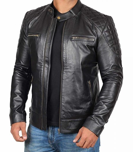 Dover Real Lambskin Mens Black Leather Jacket