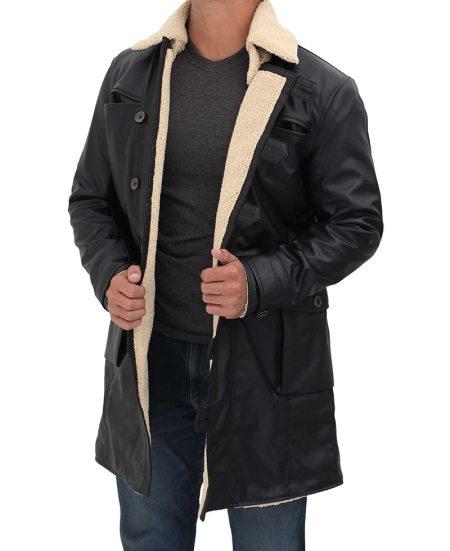 Black 3/4 Length Shearling Leather Coat Mens