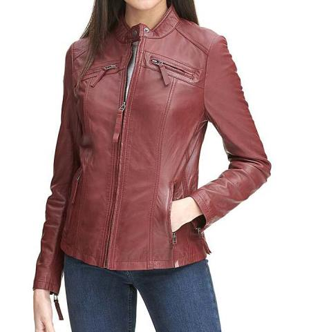 Rosemere Vintage Leather Womens Red Motorcycle Jacket