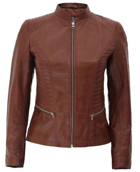 Rachel Women's Leather Jacket Cognac