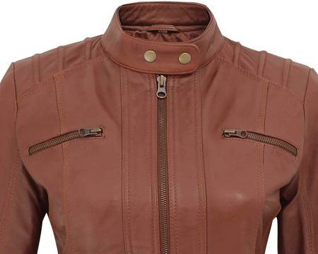 Aversa Womens Brown Leather Jacket