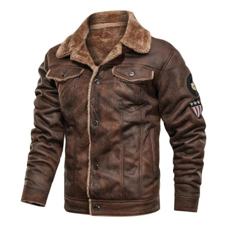 Aviator Brown Men's Leather Jacket