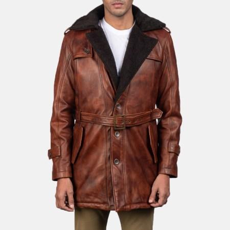 Hunter Distressed Brown Fur Leather Coat