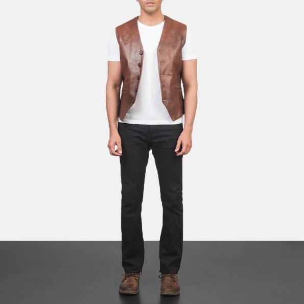 Auden Brown Leather Vest