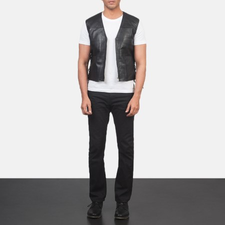 Brandon Black Leather Vest