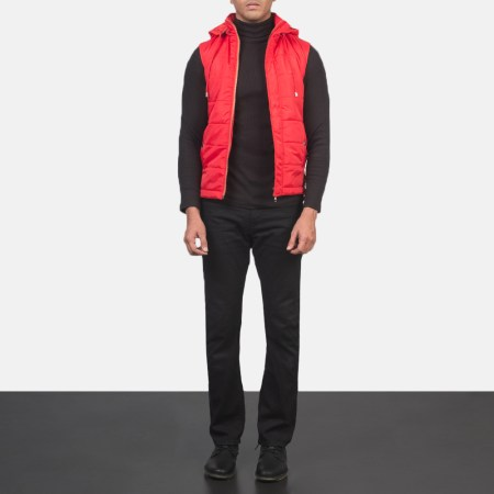 Fuston Red Hooded Puffer Vest
